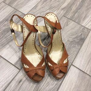 BCBGirls brown leather heels size 7